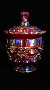 Mosser Glass Ruby Carnival Eye Winker Lidded Sugar Trinket Jar New