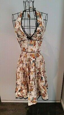 Pinup 2pc bundle! Halloween Los Muertos & Hawaiian tiki dress size S EUC 1950s