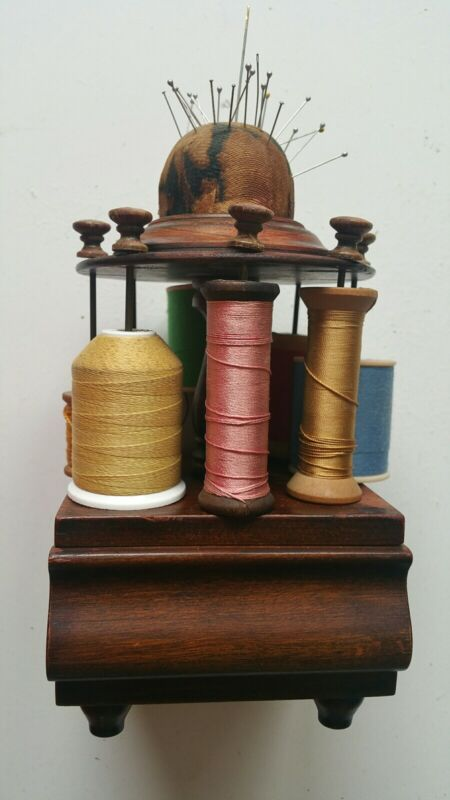 ANTIQUE SEWING SPOOL HOLDER STAND WITH PIN CUSHION AND DRAWER