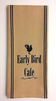"EARLY BIRD CAFE 18"" x 28"" Cotton Towel with Rooster Black on Nutmeg-Tan"