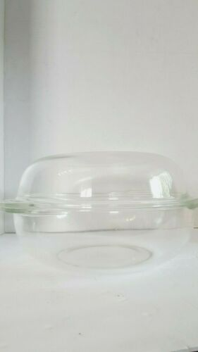 Pyrex 2 Qt. ROUND CASSEROLE #024 Clear Glass Oven Roaster Dish W/ Lid