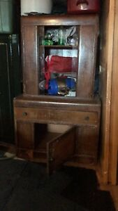 Antique china cabinet storage unit