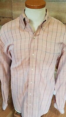 (Bobby Jones Collection Rosewood Herringbone Plaid Sz XL Golf Casual Shirt )