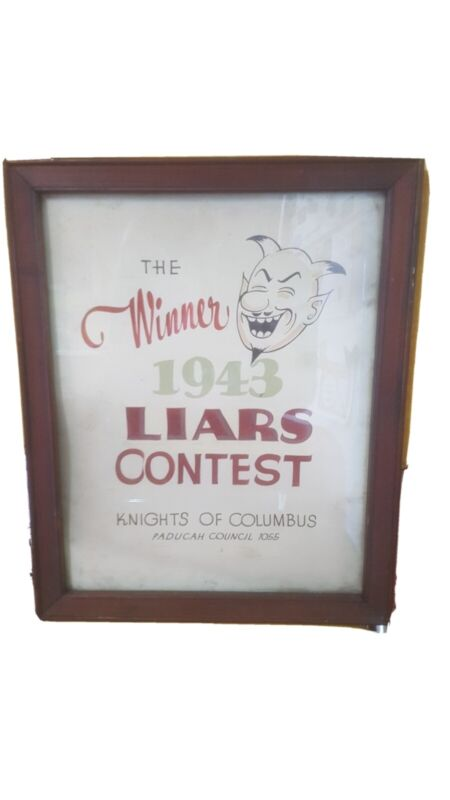 Unique 1945 Knights of Columbus Liars Club Award
