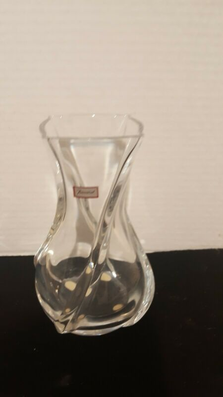 "Baccarat Crystal Glass Vase Serpentine 6"" Signed"