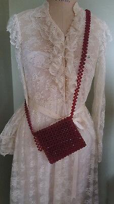 1940s Handbags and Purses History 1940's ADORABLE Red Beaded Crossover Messenger Bag Vintage  $14.99 AT vintagedancer.com