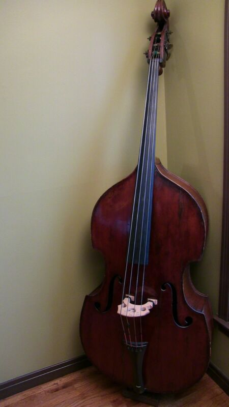 German Carved Roundback Upright Double Bass With Flight Case