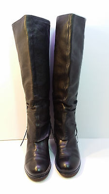 Women's Bianchi Black Leather Knee High Boots size 40 US 9.5 M