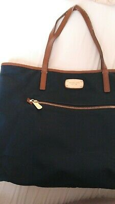MICHAEL KORS Montauk Navy Blue Brown Nylon Large Tote Handbag Purse FIRM PRICE