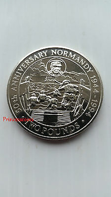 1994*UNC*BAILIWICK OF GUERNSEY £2 TWO POUND 50TH ANNIVERSARY NORMANDY COIN-KM#56