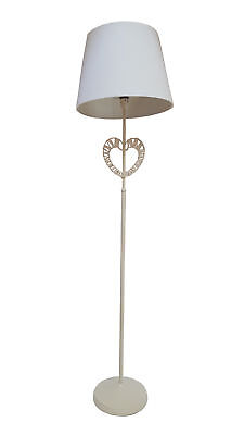 Pectus Chabby Chic Vintage Wicker Heart Floor Lamp with Ivory Fabric Shade