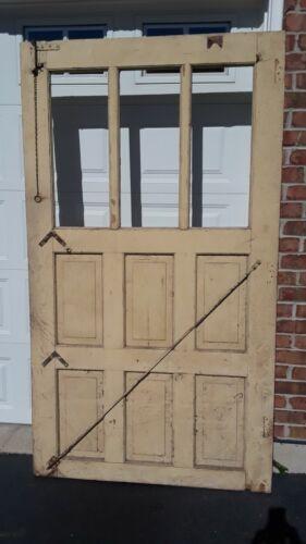 Antique Vintage Farm Wood BARN DOOR Three-Light w Pair Horseshoe Rollers Sliders