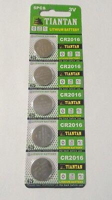 5 Pack CR2016 3v Lithium Batteries Coin Cell 90mAh Tiantan