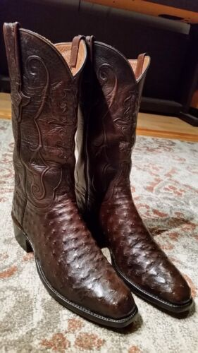 LUCCHESE, CLASSICS, FULL, QUILL, OSTRICH, BROWN, LEATHER, COWBOY, BOOTS, #E2005, MENS, 8.5D