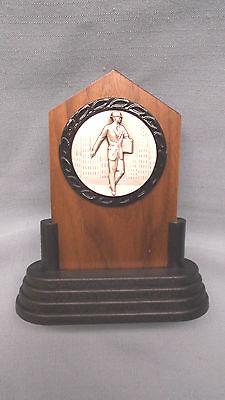 Salesman Trophy Solid Walnut Award Silver Metal Insert