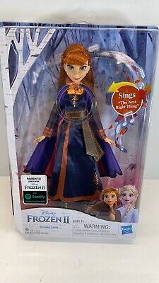 Disney Frozen 2 Singing Anna Fashion Doll with Music Wearing a Purple Dress New