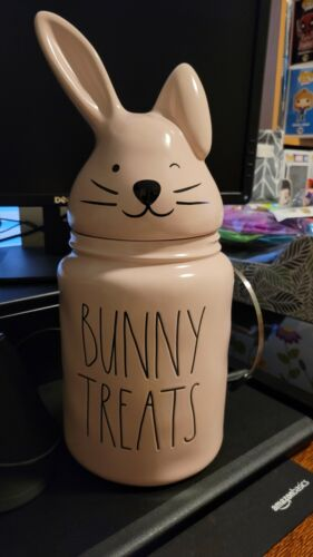 NEW Rae Dunn BUNNY TREATS Pink Large Canister W/ Bunny Ears Topper Lid Spring - $30.00