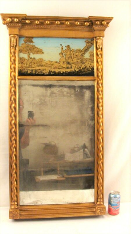 Antique 19C Federal Eglomized Tabernacle Mirror