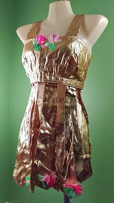 Vintage Hula Luau Costume Gold Hawaiian High Waisted Bottoms & Halter Crop (Halter Vintage Kostüm)