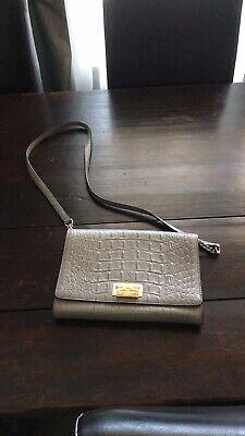 kate spade crossbody bag. Grey With Gold Details.