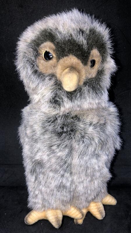 "1999 HANSA Owl Plush Brown Head Rotates Rotating Stuffed Toy Animal 9"" EUC"