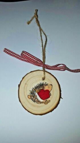 """Rustic Wood Slice Valentine Hedgehog Heart Ornament """"Hugs & Kisses"""""""