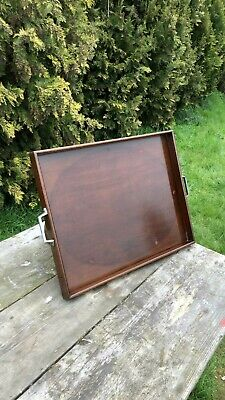 Fantastic Vintage Retro Wooden Serving Tray With Metal Handles *