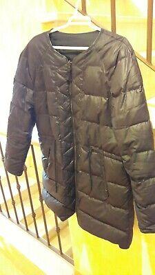 Abrigo acolchado pluma polar impermeable MASSIMO DUTTI negro borde piel L XL  segunda mano  Albarreal de Tajo