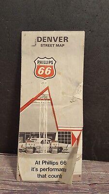 Vintage 1968 Denver Street Map Phillips 66 Used