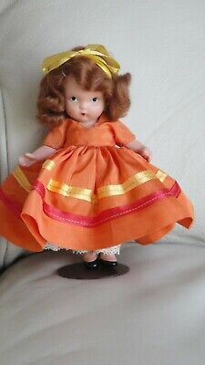 NANCY ANN STORYBOOK DOLL #92 AUTUMN.  MOLDED SOCKS/BANGS. PUDGY TUMMY. STAND.
