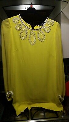 French Connection Yellow Dress ABBA/60s Uk 14