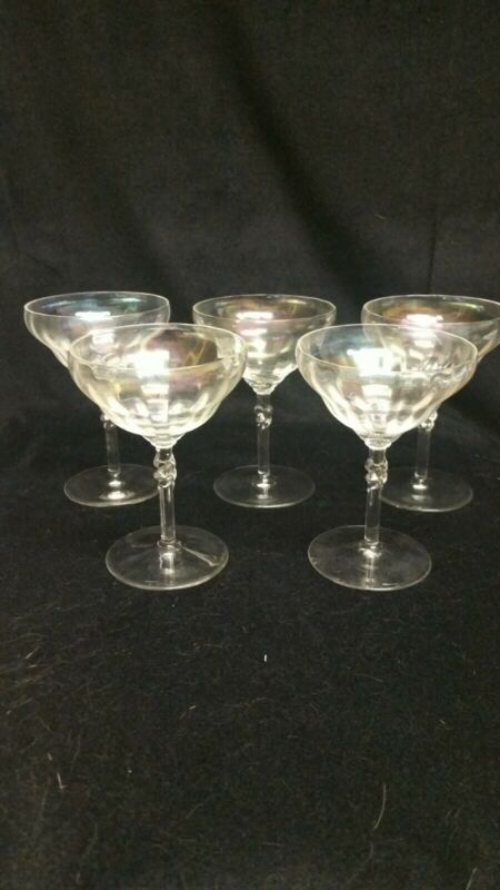 Vintage Bryce Opalescent Crystal Champagne Coupes set of 5 twist on stem