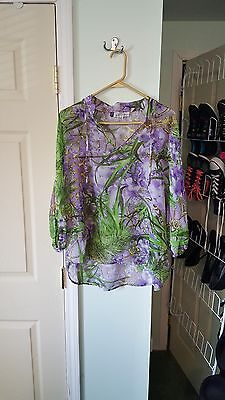 J Lo Purple Green Printed Top Size Medium