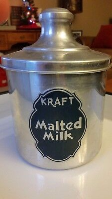 Vintage Metal Lidded ADVERTISING CANISTER Container KRAFT MALTED MILK Tin