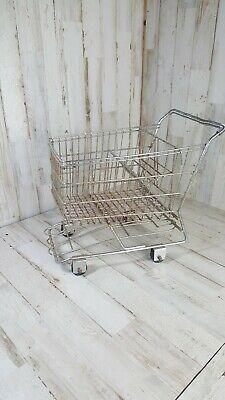 Small Metal Shopping Cart 11 Long X 11 Tall Rolling Wheels Realistic Replica