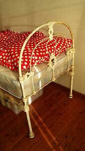 Antique white cast iron single bed with mattress East Corrimal Wollongong Area Preview