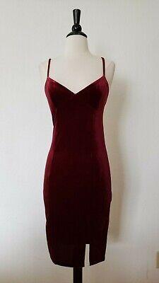 Anthropologie Dress New Size Medium Velvet Cami Mini Slit Bodycon Burgundy Wine