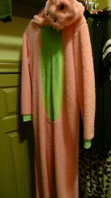 Dragon, pink with green, One Piece Bodysuit size Medium, Secret Treasure Costume (Pink Dragon Costume)