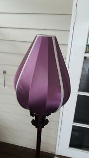 Ornamental Tulip Floor Lamp with Silk Shade and Timber Stand