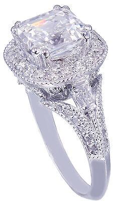GIA I-VS2 18k White Gold Asscher Cut Diamond Engagement Ring Etoile Deco 2.85ctw 9