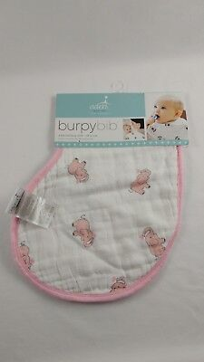 Aden And Anais Baby Elephant Burpy Bib Pink White Cotton Muslin Shower New Pink Elephant Baby Bib