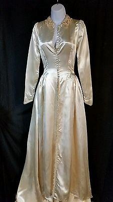 Vintage Satin Ivory Wedding Dress Size Small