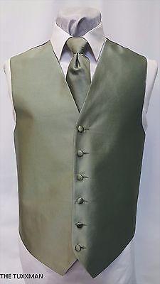 BM Boys Medium Mens Olive Green Tuxedo Cheap Vest and Long Tie Prom Wedding Tux (Vests For Men Cheap)