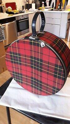 rare vintage valise / boîte à chapeaux tartan