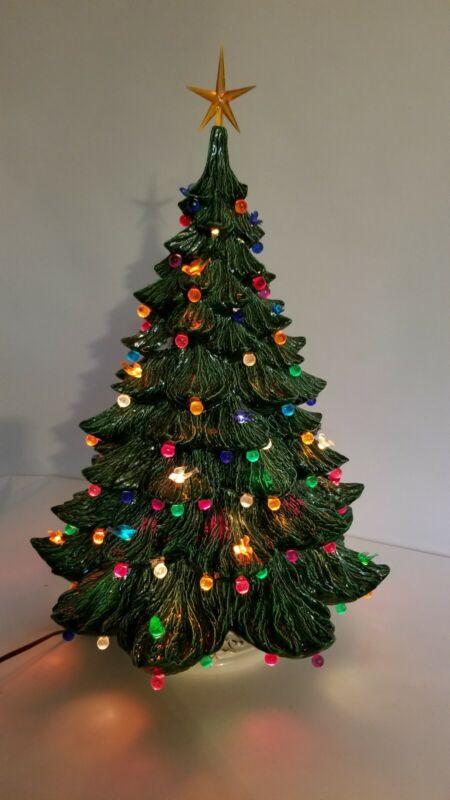 "Vintage 22"" Ceramic Colored Lights Christmas Tree Holidays"