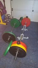 Weights: 150kg olympic bumper set with olympic bar and EZ Bar. Springfield Ipswich City Preview
