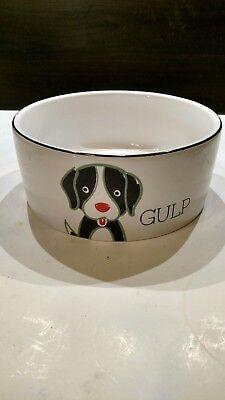 "Cute ""GULP"" Dog Dish Food Water Bowl"