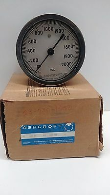 New Old Stock Ashcroft Pressure Gauge 0-2000psi 250-2362a