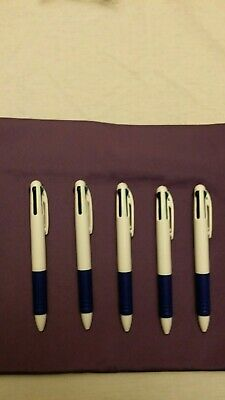 Lot Of 5 Misprint Retractable 4-color Ink Plastic Ballpoint Pens With Clip