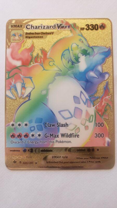 Charizard Vmax 74/73 Metal Pokemon Card Champions Path Rainbow Custom